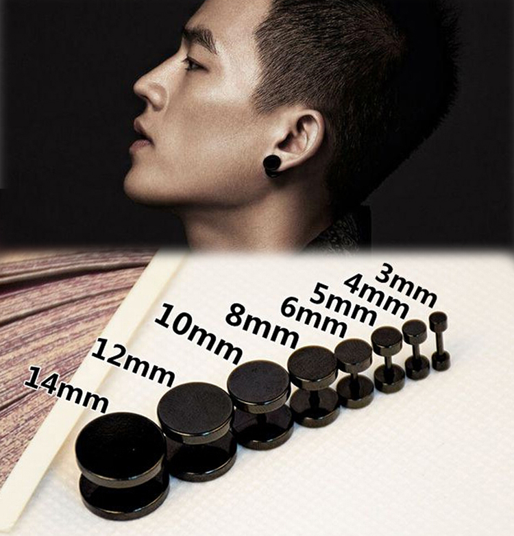 1 pcs fashion Stainless Steel Black Gothic Barbell Earring Round Plain Men Stud Earring Jewelry 8styles drop shipping