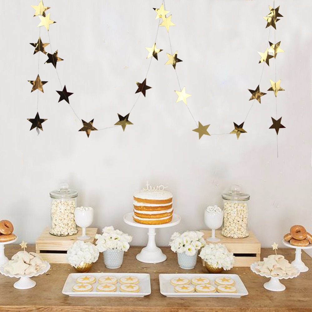 5M Gold star Garland Twinkle Twinkle Little Star garland Christmas garland For Baby Shower Wedding Festival Party Decoration