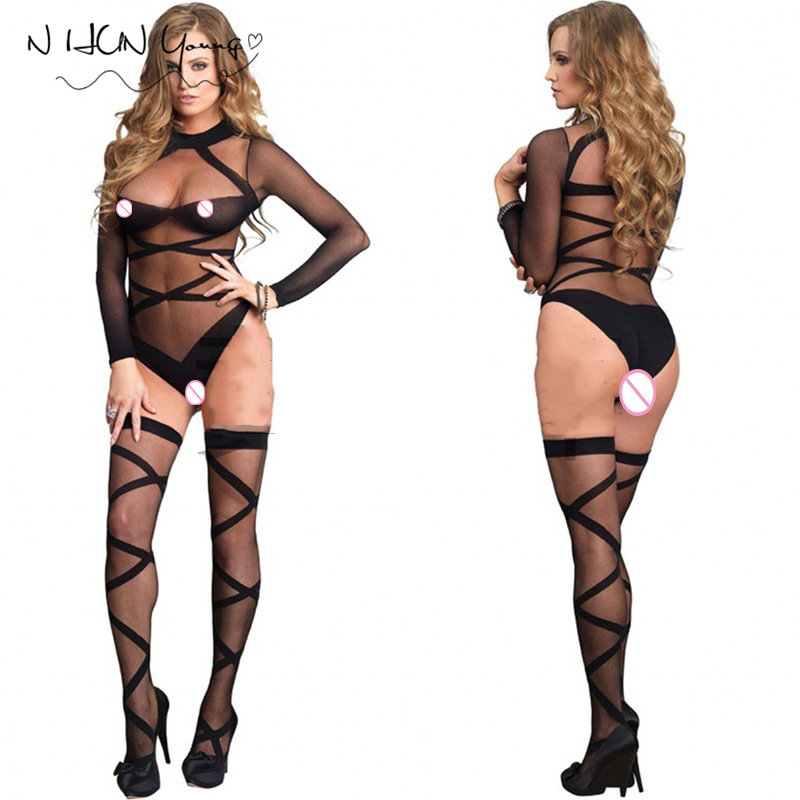 Sexy Lingerie Hot Bodysuit Stockings Tights Intimates Women Bodystocking Erotic lingerie Lenceria Erotica Mujer Sexi Body qq173