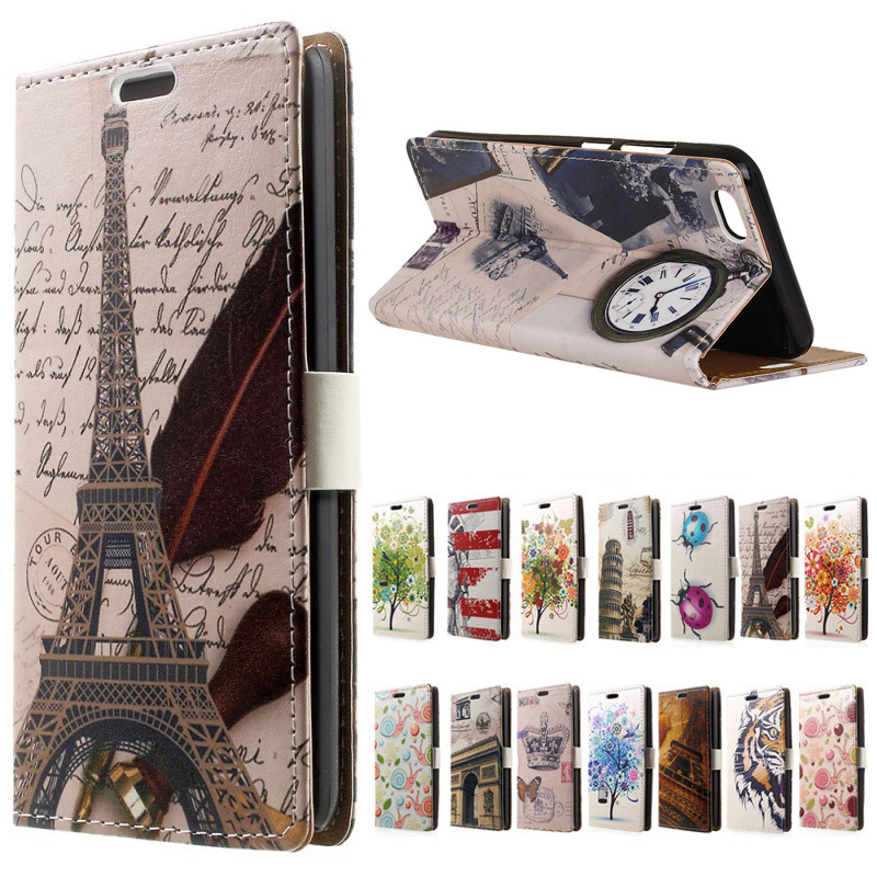 Vivo V5 case Eiffel Tower Clock PU Leather wallet flip with Stand cover case for Vivo V5 V 5 Y67 Phone cases funda coque