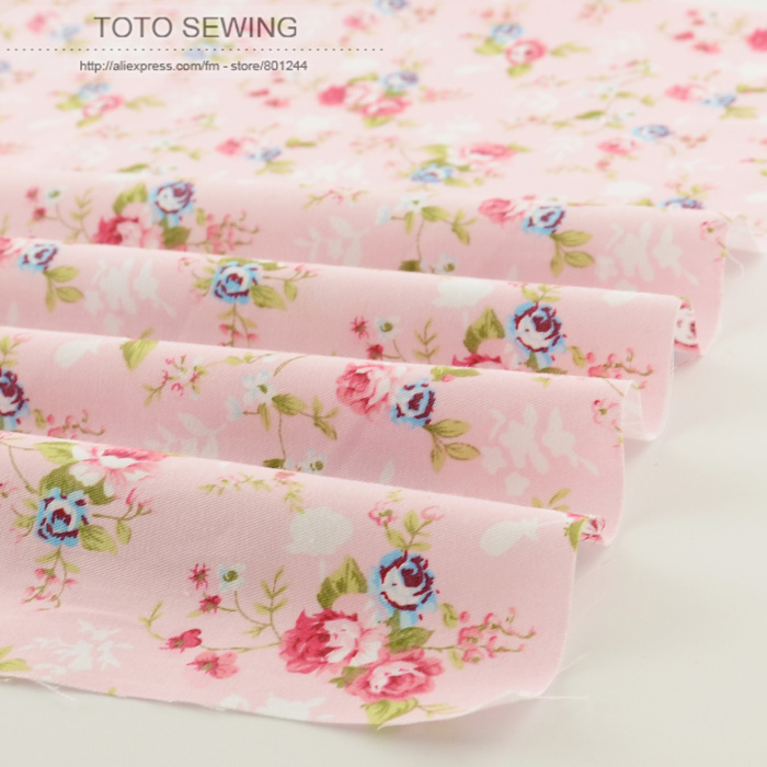 New pink printed floral patterns 50cmx160cm/piece cotton fabric quilting home textile factory direct fabric