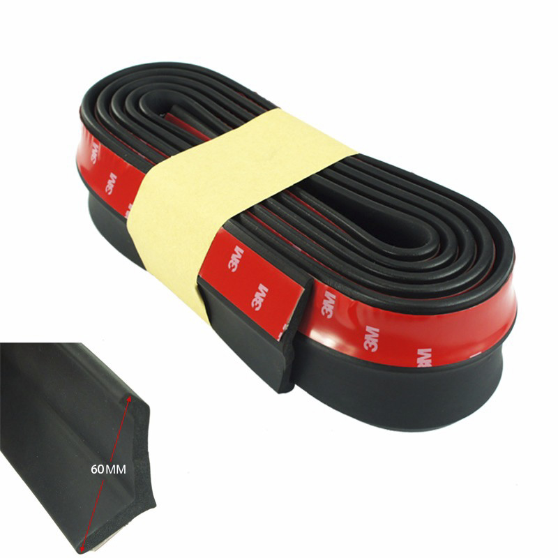 CNSPEED Rubber Soft Black bumper Strip Car 60mm Width 2.5m length Exterior Front Bumper Lip Kit / Car bumper Strip
